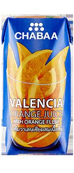 น้ำส้มวาเลนเซียผสมเนื้อส้ม ผลไม้แท้ 100% พร้อมดื่ม กล่องเล็ก
